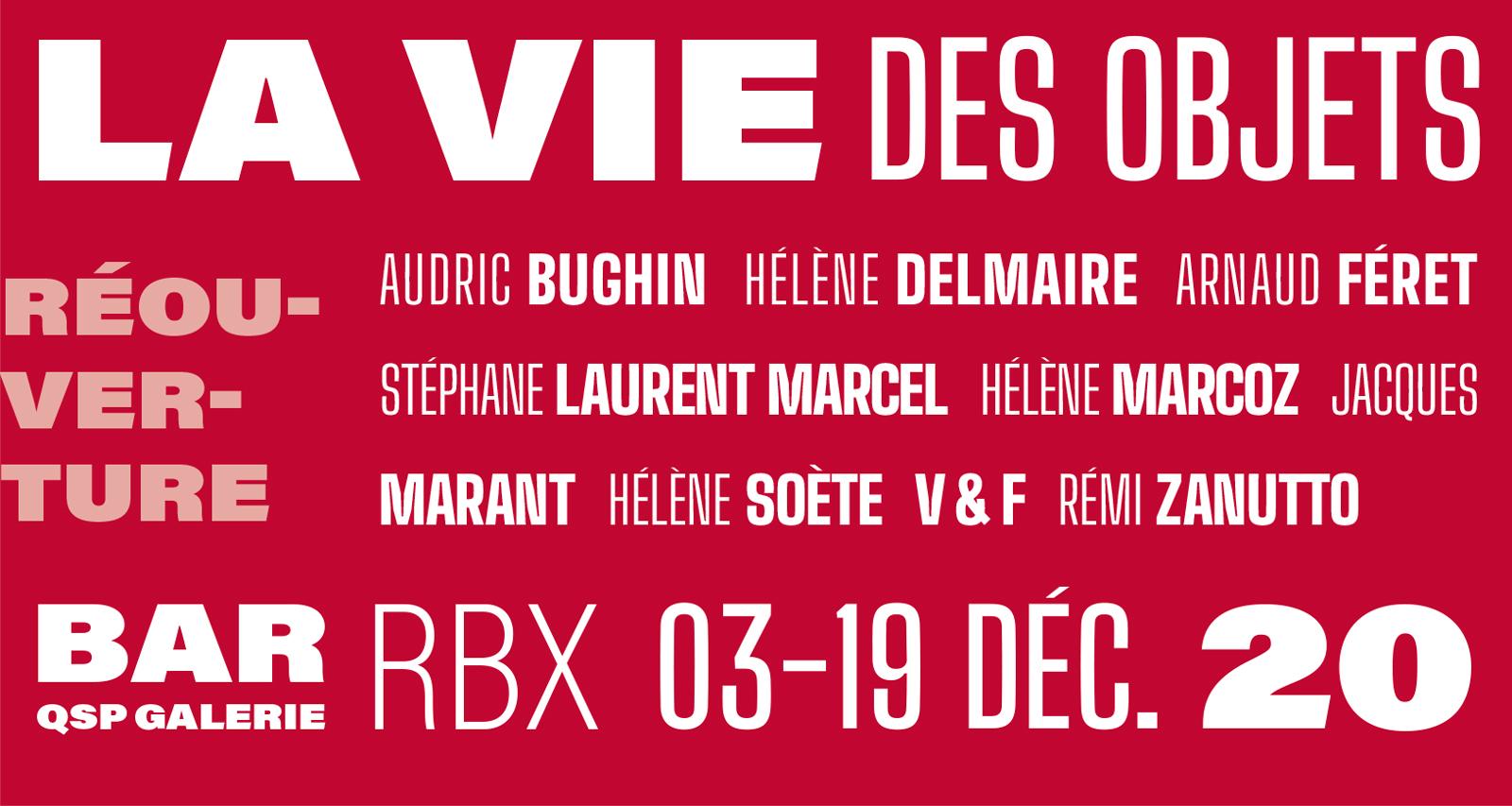 La vie des objets   Audric Bughin, Hélène Delmaire, Arnaud Féret, Stéphane Laurent Marcel, Hélène Marcoz, Jacques Marant, Hélène Soète, V&F, Rémi Zanutto